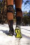Winter trail running Stock Image