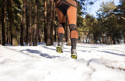 Winter trail running Stock Photo