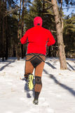 Winter trail running: man takes a run on a snowy mountain path in a pine woods. Royalty Free Stock Images