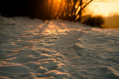 Winter trail at sunset. Covered by snow. Bright sun breaks through the trees in the background. Ukraine, Carpathian, Ivano-Frankivsk Stock Photo