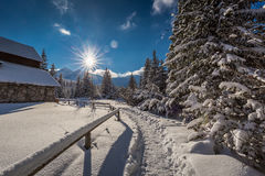 Winter trail to mountain hut at dawn, Tatra Mountain Stock Images