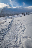 Winter trail to a warm shelter inTatras Mountains Royalty Free Stock Images