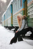 Winter train Stock Image