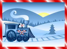 Winter Train. Holiday locomotive decorated in candycane stripes, running along tracks in the winter snow Stock Illustration