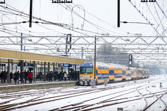 Winter train delay Royalty Free Stock Photo