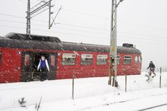 Winter Train Station Stock Photography