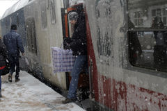 WINTER - TRAIN STATION Stock Photo