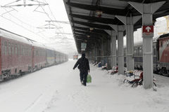 WINTER - TRAIN STATION, elays and trains canceled. Bucharest, Romania, 17 January 2016. People are seen waiting in the North Train Station to board their trains Royalty Free Stock Images