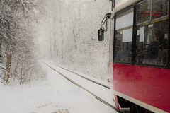 Winter tram ride Stock Images