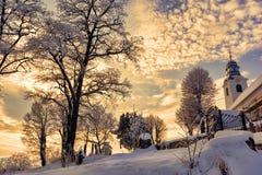 Winter in Transylvania stock image