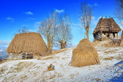 Winter in Transylvania Romania. In Western Romania lies a splendid mountain plateau that is little known: the Apuseni Mountains. The main access roads in the royalty free stock photos