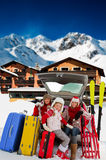 Winter travel. Winter holiday, family with baggage ready for the travel for winter holiday Royalty Free Stock Image