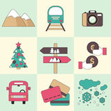 Winter travel flat design icons. Stock Photos