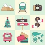 Winter travel flat design icons. Stock Photos