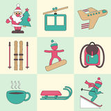 Winter travel flat design icons. Stock Images