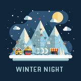 Winter Travel Flat Vacation Landscape Stock Photography
