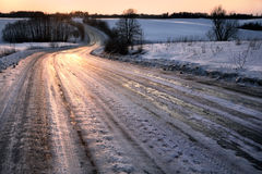 Winter Travel: Icy Road Royalty Free Stock Images