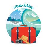 Winter travel illustration. Tourism. Suitcase, camera and hat.  design element. Royalty Free Stock Photos
