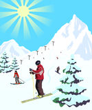 Winter travel landscape with skier Royalty Free Stock Image