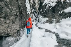 Winter traveler in snow mountain canyon Royalty Free Stock Photos
