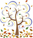 Winter Tree. A  illustration of a beautiful late autumn tree blowing in the wind Stock Photo