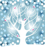 Winter tree. Silhouette with cute birds over blue background vector illustration