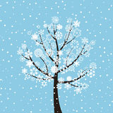Winter tree. On a dark blue background. A vector illustration Royalty Free Stock Photos