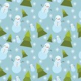 Winter tree ans snowman seamless pattern. Stock Photography