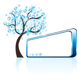 Winter tree and banner. For your text, vector illustration Royalty Free Stock Image