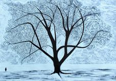 Winter Tree. Christmas or winter card design showing huge Everyman tree sillouetted against a snowy landscape with a single person looking on royalty free illustration