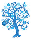 Winter tree with christmas decoration Royalty Free Stock Photo