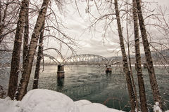 Winter Tree Framed Trestle Bridge. Trestle bridge on the Columbia river framed with trees in winter Stock Photo