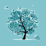 Winter tree with frozen flowers for your design Stock Images