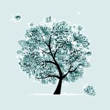 Winter tree with frozen flowers for your design Stock Photos