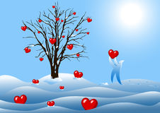 Winter tree with hearts. Illustration Stock Photo