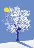 Winter tree and moon Stock Photo