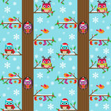 Winter tree with owls pattern Royalty Free Stock Photo