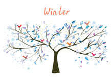 Winter tree with snow and birds Stock Photography