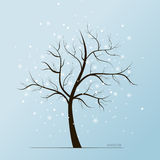 Winter tree and snow flakes. Vector winter blue background with white snow flakes and tree without leaves vector illustration