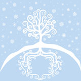 Winter tree and snowfal Royalty Free Stock Photo