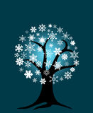 Winter Tree with Snowflakes Royalty Free Stock Photography