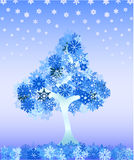 Winter tree from snowflakes Royalty Free Stock Photo