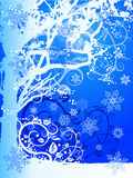 Winter tree & snowflakes Stock Image