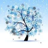 Winter tree, snowflakes. Christmas holiday. Royalty Free Stock Photos