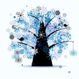 Winter tree, snowflakes. Christmas holiday. Stock Photos