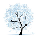 Winter tree, snowflakes. Christmas holiday. Stock Photo