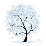 Winter tree, snowflakes. Christmas holiday. Stock Photo