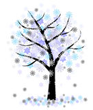Winter tree with snowflakes Royalty Free Stock Images