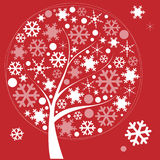Winter tree with snowflakes on red background Stock Photo