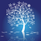 Winter tree with snowflakes, vector Stock Photo